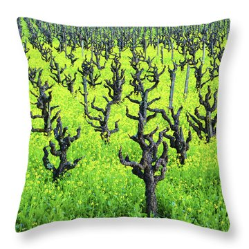 Mustard Flowers In The Vineyards Throw Pillow