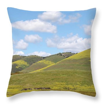 Mustard On Nipomo Hills Throw Pillow by Art Block Collections