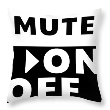 Throw Pillow featuring the mixed media Mute On Off- Art By Linda Woods by Linda Woods