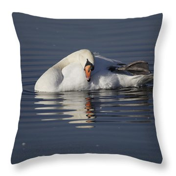 Mute Swan Resting In Rippling Water Throw Pillow