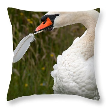 Mute Swan With Feather Throw Pillow