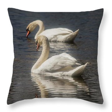 Throw Pillow featuring the photograph Mute Swans by David Bearden