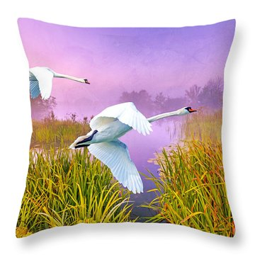 Mute Swans Over Marshes Throw Pillow