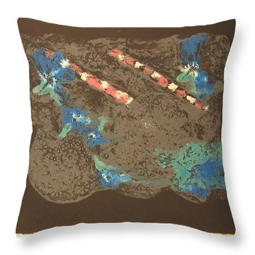 Throw Pillow featuring the mixed media Muted by Erika Chamberlin