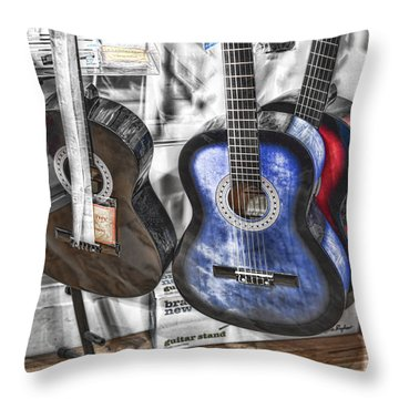 Muted Guitars Throw Pillow