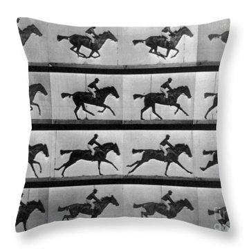 Muybridge Locomotion Racehorse Throw Pillow by Photo Researchers