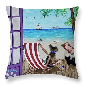 My 3 By The Sea Throw Pillow