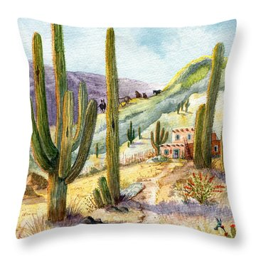 Throw Pillow featuring the painting My Adobe Hacienda by Marilyn Smith