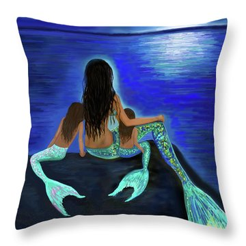 Throw Pillow featuring the painting My Adorable Girls by Leslie Allen