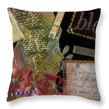 My Art Journal - Blessed Throw Pillow by Angela L Walker