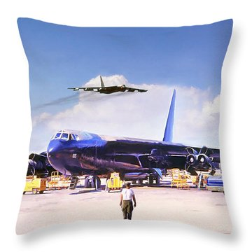 Throw Pillow featuring the digital art My Baby B-52 by Peter Chilelli