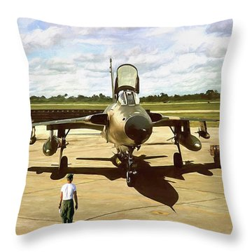 My Baby F-105 Throw Pillow by Peter Chilelli