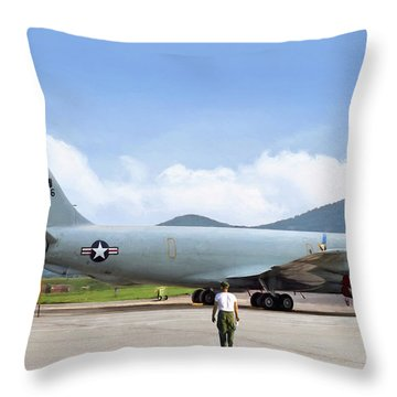 Throw Pillow featuring the digital art My Baby Kc-135 by Peter Chilelli