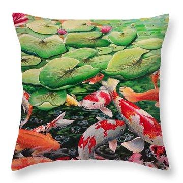 My Backyard Pond Throw Pillow