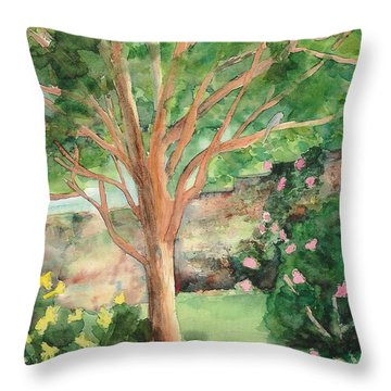 Throw Pillow featuring the painting My Backyard by Vicki  Housel
