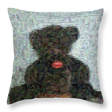 Throw Pillow featuring the digital art My Bear by Lucia Sirna