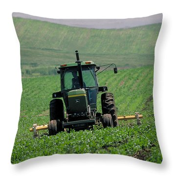 My Big Green Tractor Throw Pillow by Garry McMichael