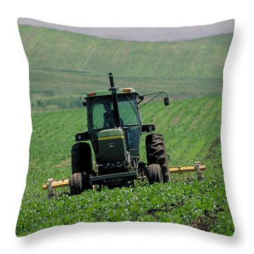 My Big Green Tractor Throw Pillow