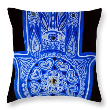 My Blue Hamsa Throw Pillow