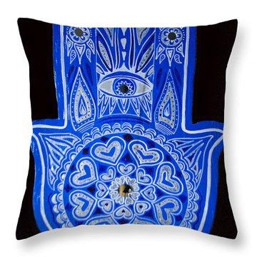 My Blue Hamsa Throw Pillow by Patricia Arroyo