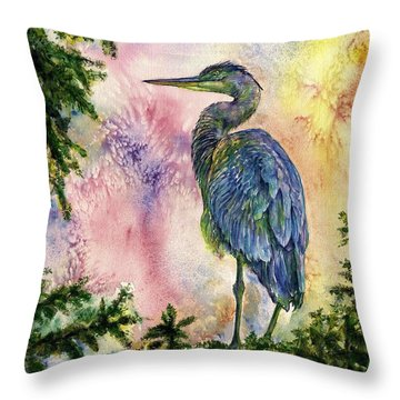 My Blue Heron Throw Pillow