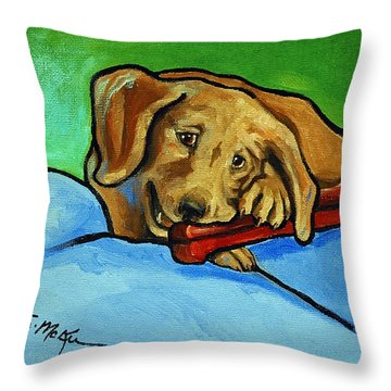 Throw Pillow featuring the painting My Bone by Suzanne McKee
