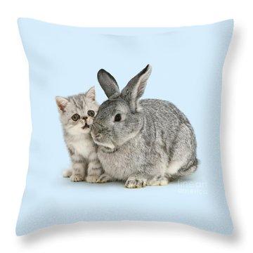 My Bunny Little Friend Throw Pillow