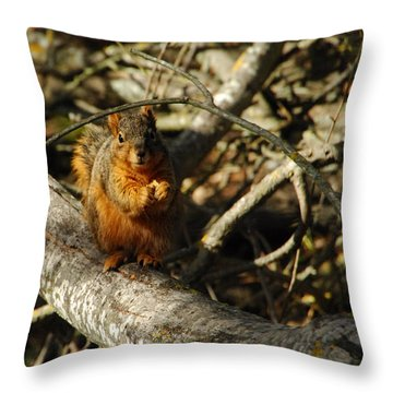 My Bushy Red Hairdo Throw Pillow by Donna Blackhall
