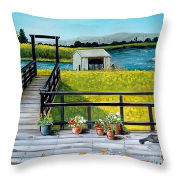Throw Pillow featuring the painting My Canvas by Elizabeth Robinette Tyndall
