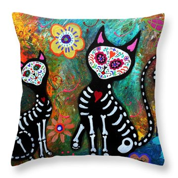 My Cats Dia De  Los Muertos Throw Pillow
