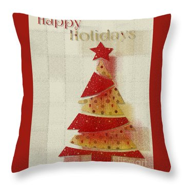 My Christmas Tree 02 - Happy Holidays Throw Pillow by Aimelle