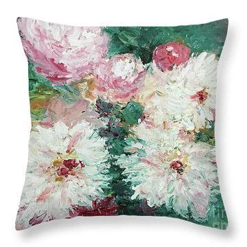 Throw Pillow featuring the painting My Chrysanthemums by Barbara Anna Knauf