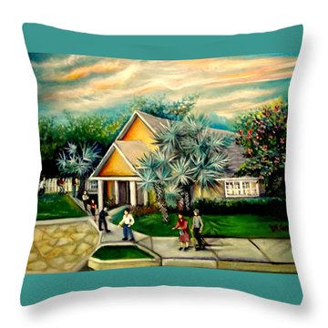 Throw Pillow featuring the painting My Church by Yolanda Rodriguez
