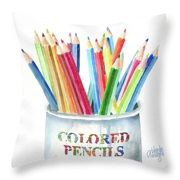 My Colored Pencils Throw Pillow by Arline Wagner