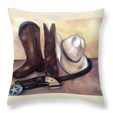 My Cowboy's Home Throw Pillow