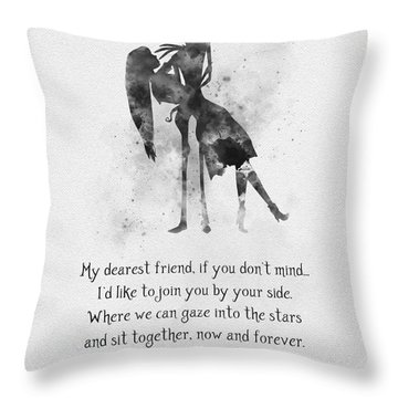 My Dearest Friend Black And White Throw Pillow