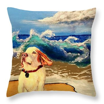My Dog And The Sea #1 - Beagle Throw Pillow