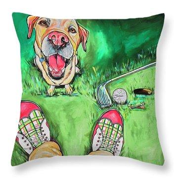 My Dog Putter Throw Pillow