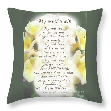 My Evil Twin Greeting Card And Poster Throw Pillow by Felipe Adan Lerma