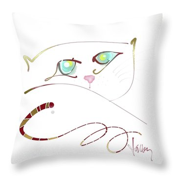 Throw Pillow featuring the painting My Eyes Are Up Here by Larry Talley