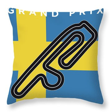 My F1 Anderstorp Race Track Minimal Poster Throw Pillow