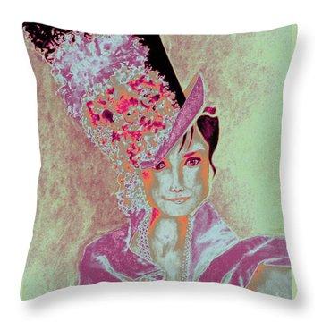 My Fair Audrey -- In Raspberry And Orange Throw Pillow
