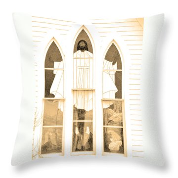 My Fathers Church Window Throw Pillow by Lenore Senior