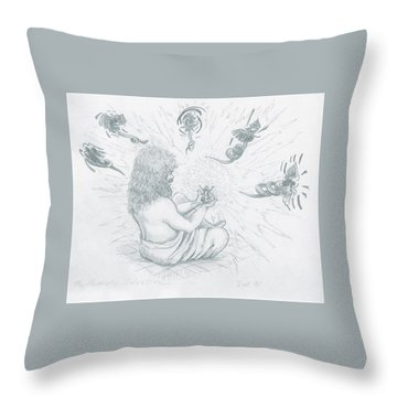 Throw Pillow featuring the drawing My Father's Salvation by Jeanette Jarmon