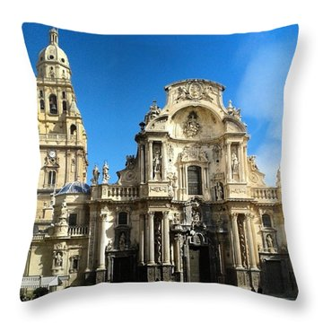 Spanish Cathedral In Murcia Throw Pillow