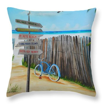 My Favorite Beaches Throw Pillow by Lloyd Dobson
