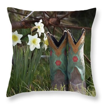 Throw Pillow featuring the photograph My Favorite Boots by Benanne Stiens