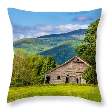 Throw Pillow featuring the photograph My Favorite Cabin In The Rolling Mountains by Paula Porterfield-Izzo