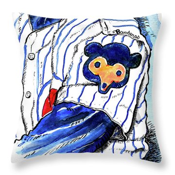 Throw Pillow featuring the painting My Favorite Chicago Cub by Terry Banderas