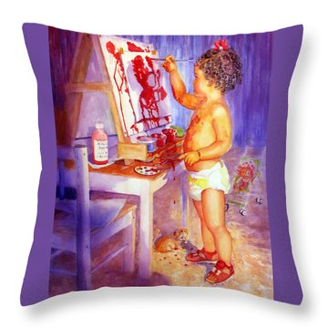 My Favorite Painter Throw Pillow by Estela Robles